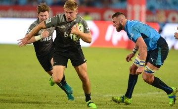 Jack Goodhue of the Crusaders during the Super Rugby match between Bulls and Crusaders