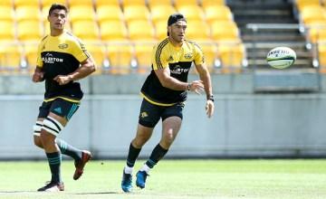 Nehe Milner-Skudder passes during the Wellington Hurricanes captain's run a