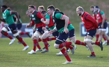 Peter O'Mahony leads the sprints during the British & Irish Lions training