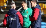 Owen Farrell and Jonny Sexton talk to Lions backs coach Rob Howley