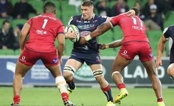Sean McMahon of the Rebels runs with the ball during the round 12 Super Rugby match