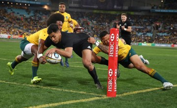 ieko Ioane of the All Blacks scores a try during The Rugby Championship Bledisloe Cup match between the Australian Wallabies and the New Zealand All Blacks