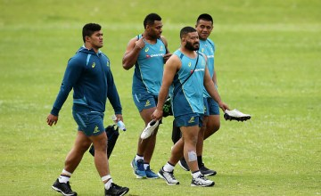 Jordan Uelese, Samu Kerevi, Tolu Latu, Allan Alaalatoa arrive during an Australian Wallabies training session