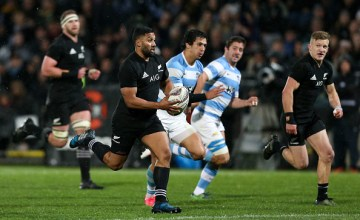 Lima Sopoaga on the charge for New Zealand against Argentina earlier this month.