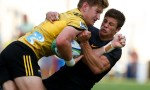 Jordie Barrett of Hurricanes is tackled by Bautista Delguy of Jaguares during a match between Jaguares and Hurricanes