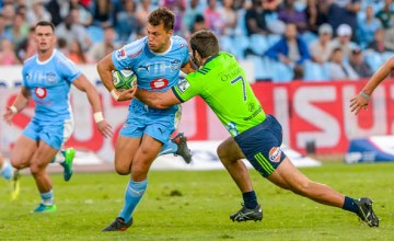 Handre Pollard of the Bulls with possession during the Super Rugby match between Bulls and Highlanders