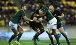 Kieran Read of the All Blacks charges forward during The Rugby Championship match between the New Zealand All Blacks and the South Africa Springboks at Westpac Stadium