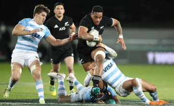 Shannon Frizzel of the New Zealand All Blacks is tackled during The Rugby Championship match between the New Zealand All Blacks and Argentina at Trafalgar Park