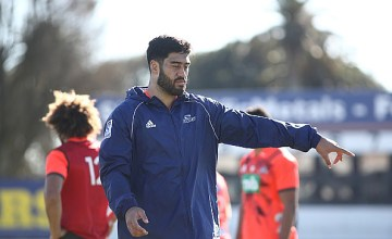 Akira Ioane of the Auckland Blues gestures during a Blues Super Rugby training session