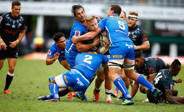 Dan du Preez is swallowed by the Stormers during the Sharks derby against the Stormers