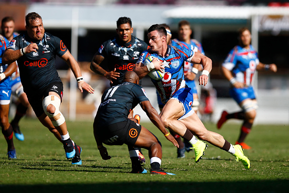 Jesse Kriel scores the Bulls only try as they overcome the Sharks in a bruising South African derby at Kings Park, Durban