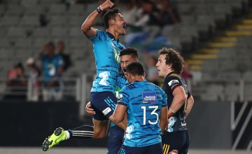 Rieko Ioane celebrates another try as the Blues beat the Highlanders at Eden Park, Auckland