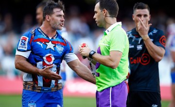 Schalk Brits of the Vodacom Bulls gets a red card from Referee: Mike Fraser (NZ) during the Super Rugby match between Sharks and Bulls at Kings Park