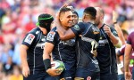 Jahrome Brown of the Brumbies celebrates scoring a try during the round six Super Rugby match between the Reds and the Brumbies