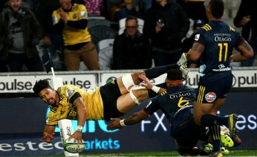 Ardie Savea scores his second try in the Hurricanes win over the Highlanders at Forsyth Barr Stadium, Dunedin