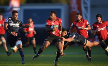 Sevu Reece of the Crusaders runs through to score a try during the round 8 Super Rugby match between the Crusaders and Brumbies at Christchurch Stadium