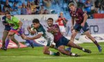 Bulls' Jade Stighling (L) scores his try during the Super Rugby match between Vodacom Bulls and Queensland Reds