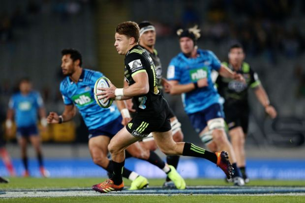 Beauden Barrett of the Hurricanes makes a run during the round 13 Super Rugby match between the Blues and the Hurricanes
