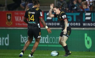 Brad Weber of the Chiefs celebrates his try during the round 13 match between the Chiefs and the Sharks at FMG Stadium on May 11, 2019 in Hamilton, New Zealand