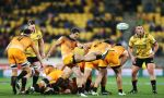 Tomas Cubelli of the Jaguares kicks during the round 14 Super Rugby match between the Hurricanes and the Jaguares at Westpac Stadium