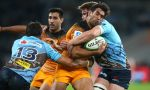 Ramiro Moyano of the Jaguares is tackled during the round 15 Super Rugby match between the Waratahs and the Jaguares at Bankwest Stadium