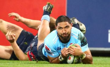 Curtis Rona scores for the Waratahs to help New South Wales to victory over the Melbourne Rebels at AAMI Park, Melbourne