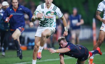 Shaun Stevenson of the Chiefs scores a try during the round 18 Super Rugby match between the Rebels and the Chiefs