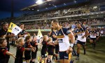 Christian Lealiifano leads out the Brumbies in his what could be his final home game against the Sharks at GIO Stadium, Canberra