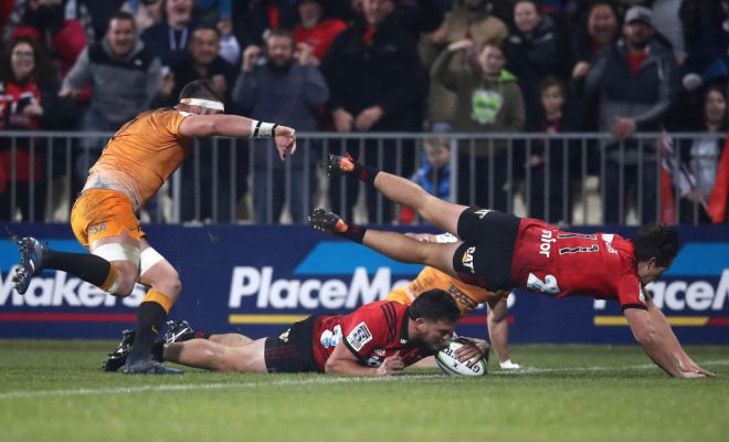 Codie Taylor of the Crusaders scores a try during the Super Rugby Final between the Crusaders and the Jaguares