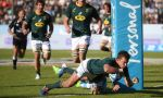 Handre Pollard of South Africa scores his first try as the Boks put Argentina to the sword, winning the 2019 Rugby Championship for the first time