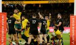 Marika Koroibete of the Wallabies scores a try in Australia's 47-26 victory over New Zealand at Optus Stadium, Perth