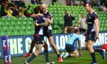 Andrew Kellaway celebrates scoring a try during Round 3 of the Melbourne Rebels Super Rugby win against the Waratahs at AAMI Park, Melbourne