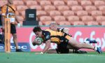 Tom Banks of the Brumbies scores a try in the corner during the round four Super Rugby match between the Chiefs and the Brumbies at FMG Stadium