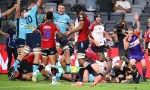 The Waratahs celebrate after Tetera Faulkner of the Waratahs scored a try during the round five Super Rugby match between the Waratahs and the Lions at Bankwest Stadium on February 28, 2020 in Sydney, Australia