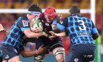 Harry Wilson of the Reds takes on the defence during the round seven Super Rugby match between the Reds and the Bulls on March 14, 2020 in Brisbane, Australia
