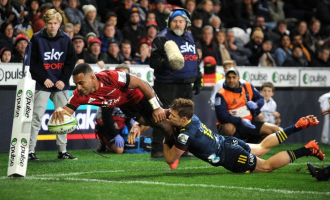 Sevu Reece scores in the Crusaders victory over the Highlanders at Forsyth Barr Stadium, Dunedin