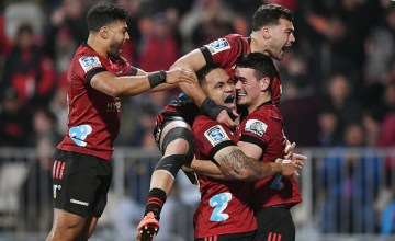 Richie Mo'unga celebrates Will Jordan's Super Rugby Aotearoa game-winning try as the Crusaders beat the Blues at Orangetheory Stadium, Christchurch