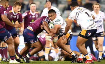Alan Alaalatoa carries the ball forward as the Brumbies beat the Reds at GIO Stadium, Canberra