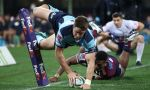 Alex Newsome of the Waratahs with an expert finish as the Waratahs thrashed the Reds at the Sydney Cricket Ground, Sydney