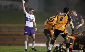 Graham Cooper referees during the round 6 Super Rugby AU match between the Rebels and Brumbies at Leichhardt Oval
