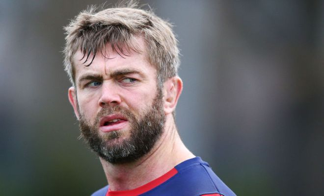 Geoff Parling of the Rebels looks upfield during a Melbourne Rebels Super Rugby training session