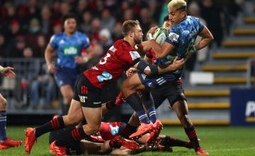 Rieko Ioane of the Blues scores a try during the round 5 Super Rugby Aotearoa match between the Crusaders and the Blues