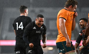 Aaron Smith celebrates another New Zealand triumph versus Australia in the Bledisloe Cup