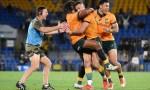 Quade Cooper kicks the winning penalty to beat South Africa 28-26 at CBUS Super Stadium, Gold Coast