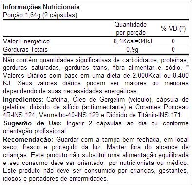 Termogênico Lipodrol - Informação Nutricional