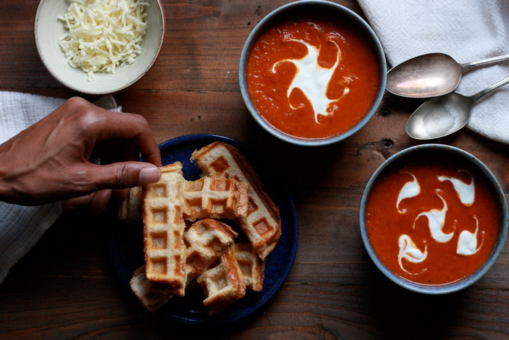 Waffle Cheese Sticks With a Simple Tomato Soup - Supper With Michelle