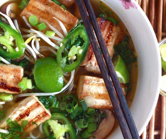 Vegan Pho with Lemongrass Tofu and Mushrooms