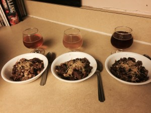 From L-R the chilis and their respective beers: Blowing Rock IPA, Shotgun betty Hefeweizen and Bell's Best Brown Ale.