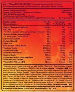 AK-47 labs Pre-Workout Ingredients