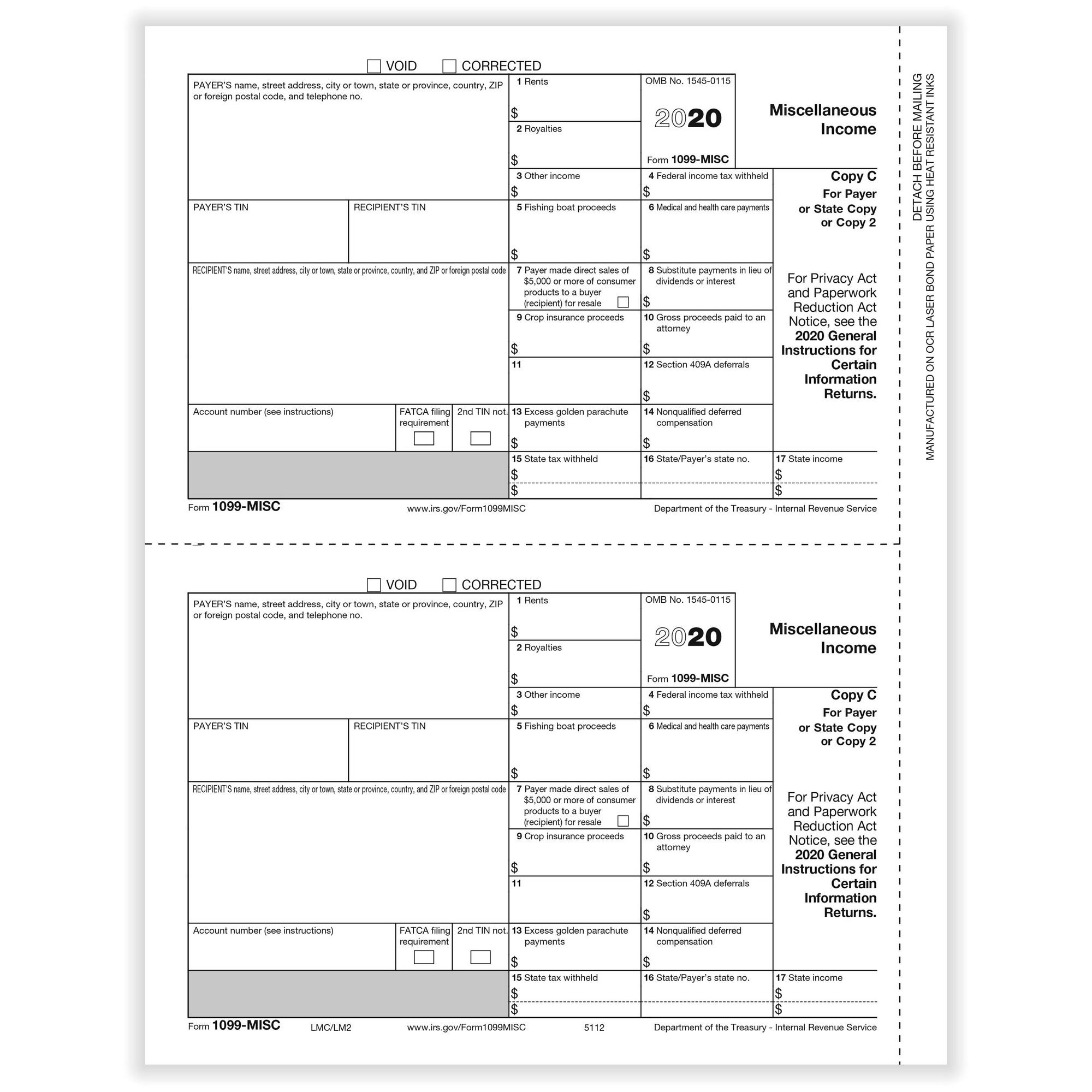 Misc Miscellaneous Payer State Copy C Cut Sheet